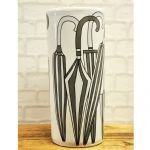 Retro 45cm Grey/Black White Ceramic Umbrella Stand Stick Holder